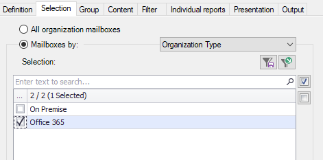 Select on-premise or Office 365 mailboxes